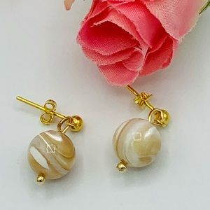 Mother of Pearl Earrings Gold Plated